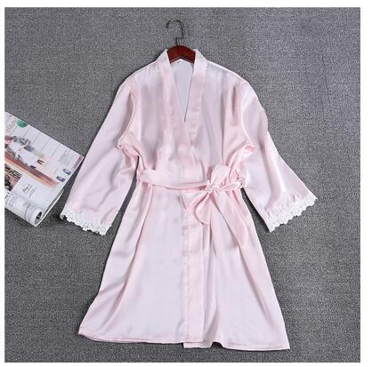 brand womens sexy bathrobes satin silk lace bridesmaid robes lingerie for adult ladies nightwear M L XL XXL sleepwear