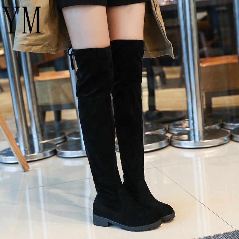 Moda 2018 Yeni Sıcak Kadın Botları Sonbahar Kış Bayanlar Düz Dipli Bot Ayakkabı Diz Üzerinde Uyluk Yüksek Siyah Süet uzun Çizmeler 40