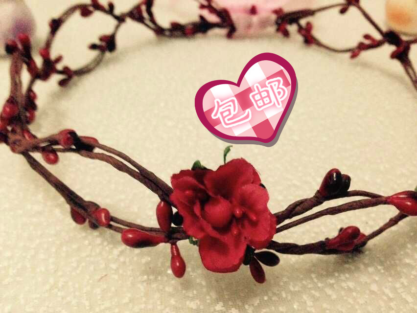 4pcs/lot Floral Head Wreath Flower Crown With Red Berry And Cherry Blossoms For Bridesmaid Bride Headband Hair Band