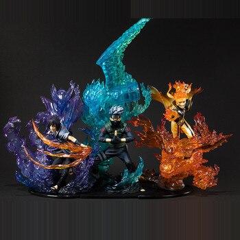 อะนิเมะ Naruto: Shippuden Uzumaki Naruto Uchiha Sasuke Hatake Kakashi PVC Action Figure รูปที่สะสมของเล่นสำหรับคริสต์มาสของขวัญ