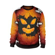 Casual Plus Size Orange Halloween Gothic Women Hoodies Hip Hop Loose 3D Print Cartoon Fall 2019 Female Goth Yellow Sweatshirts(China)