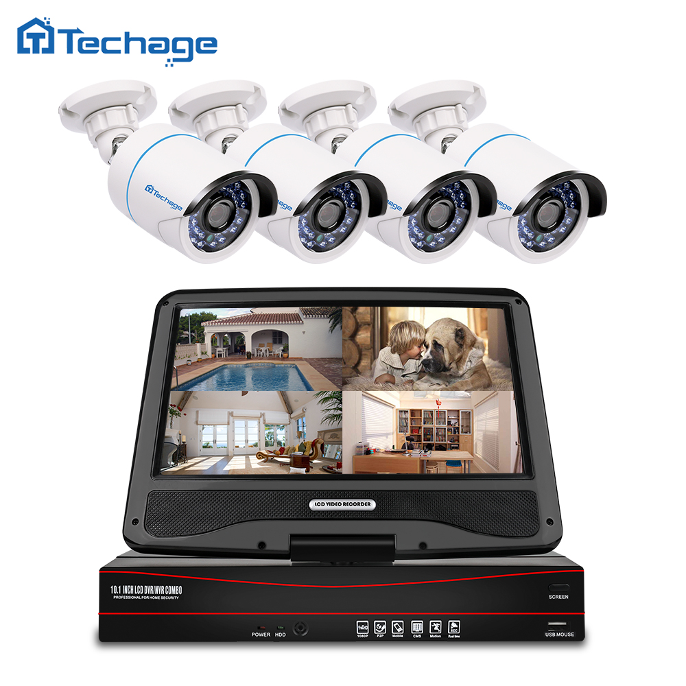 Techage 8CH 1080P POE NVR Kit With 10 1 LCD Monitor Screen CCTV System Outdoor IP