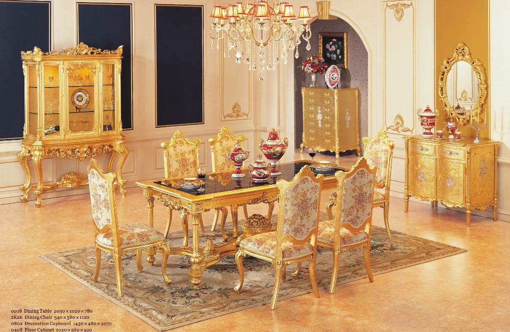 Luxury Dining Table Set With 6 Chairs Wooden Furniture Gold Color In Tables From On Aliexpress