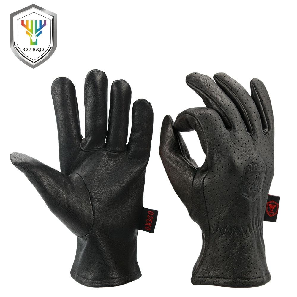 OZERO Motorcycle Gloves Leather Genuine Goatskin Breathable Motocross Motorbike Biker Racing Riding Hand Moto Gloves Summer 7005