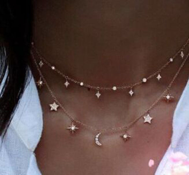 summer women sexy layer Bling cubic zirconia christmas gift moon star drop charm chocker choker necklace