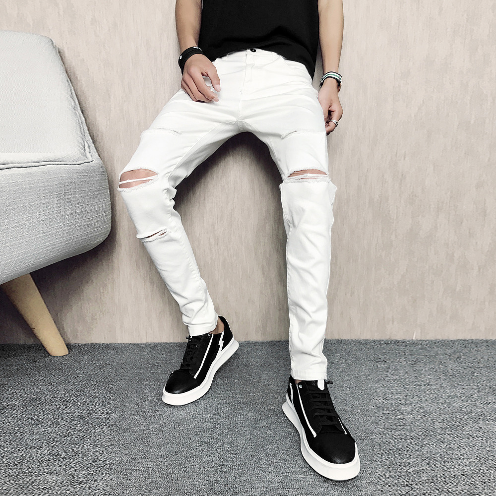 White Ripped men's Jeans 3