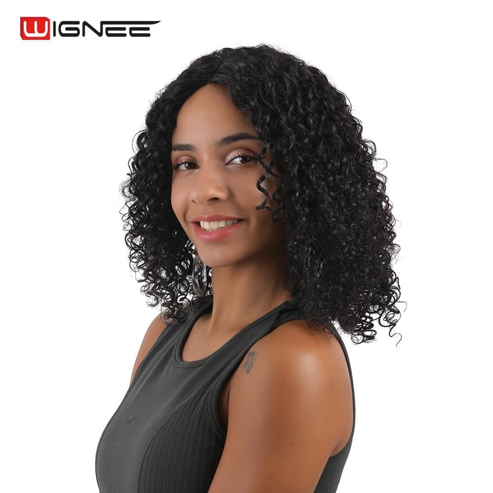 Wignee kinky encaracolado parte do laço perucas de cabelo humano para as mulheres alta densidade 150% cabelo remy brasileiro preplucked encaracolado glueless peruca humana