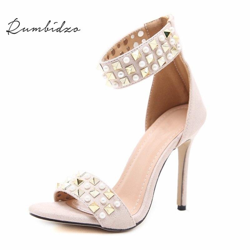 Rumbidzo Women Pumps 2018 New Rivets Pearl High Heels Shoes Woman Beading Open Toe Ankle Strap Thin Heel Pumps Sapatos pearl beading frill hem textured top