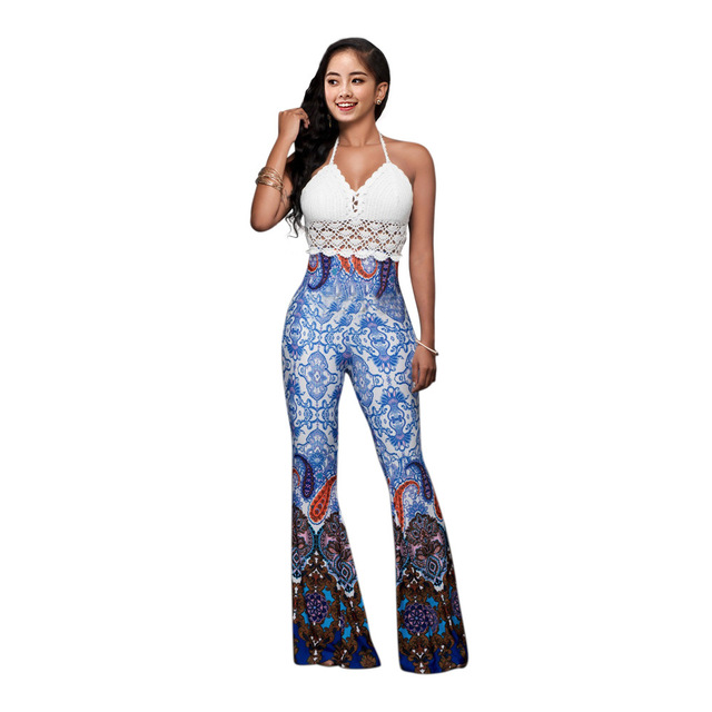 ddcca5bdaf Women's Sexy Tie Dye Print Bandeau Top Flared Bell Bottom Pants Outfits  Trousers with Crochet Crop Top 2PCS Set