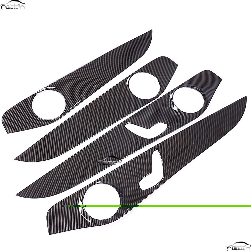Car Styling Carbon Fiber Look ABS Interior Door Decoration Panel Cover Trim Stickers For Mercedes Benz C Class W205 C180 2015-20 chrome door audio speaker cover frame trim for mercedes benz c class w205 c180 c200 c300 2015 2016 car styling accessories