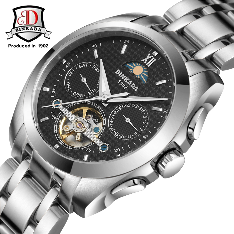 Reloj Hombre BINKADA Brand male Fashion Business Wrist Watches Men Full steel Waterproof Automatic mechanical Watch Mens Clock nakzen men quality mechanical watch gents full steel business dress clock male fashion saphhire automatic waterproof 50m watches