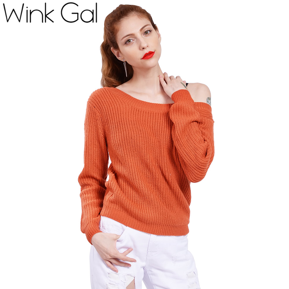 Wink Gal Casual Christmas Sweater Off Shoulder Knitted Sweaters Women Sweaters and pullovers Winter Knitwear 10107