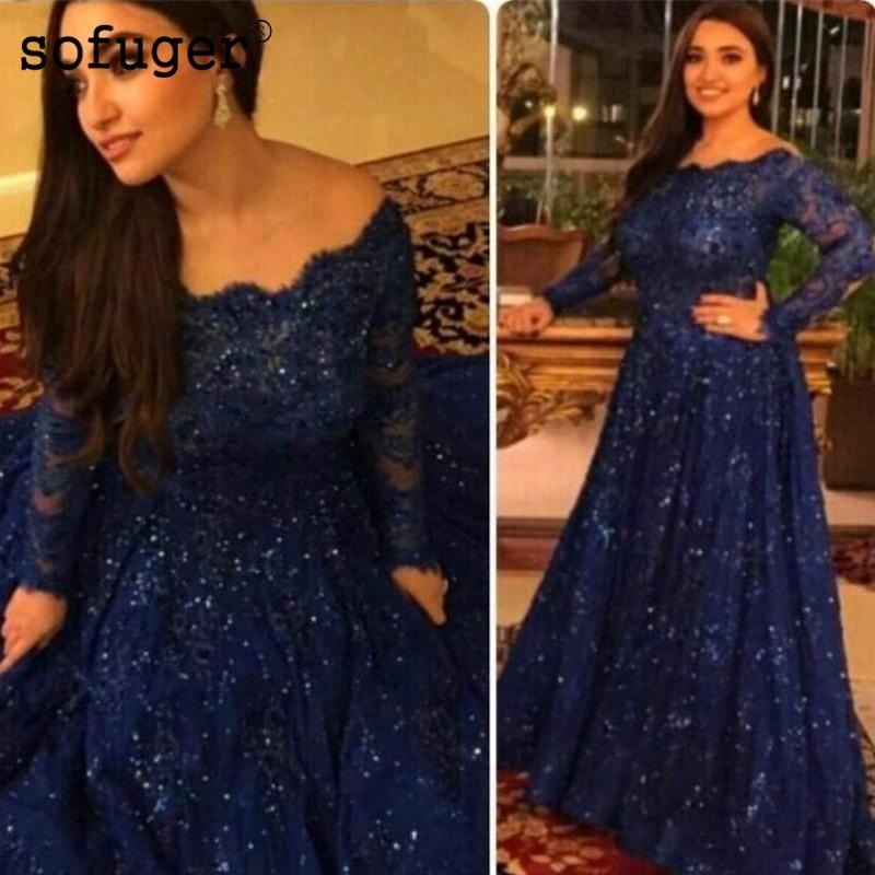Dark Blue Muslim   Evening     Dresses   2018 A-line Long Sleeves Lace Beaded Islamic Dubai Saudi Arabic Long Elegant   Evening   Gown