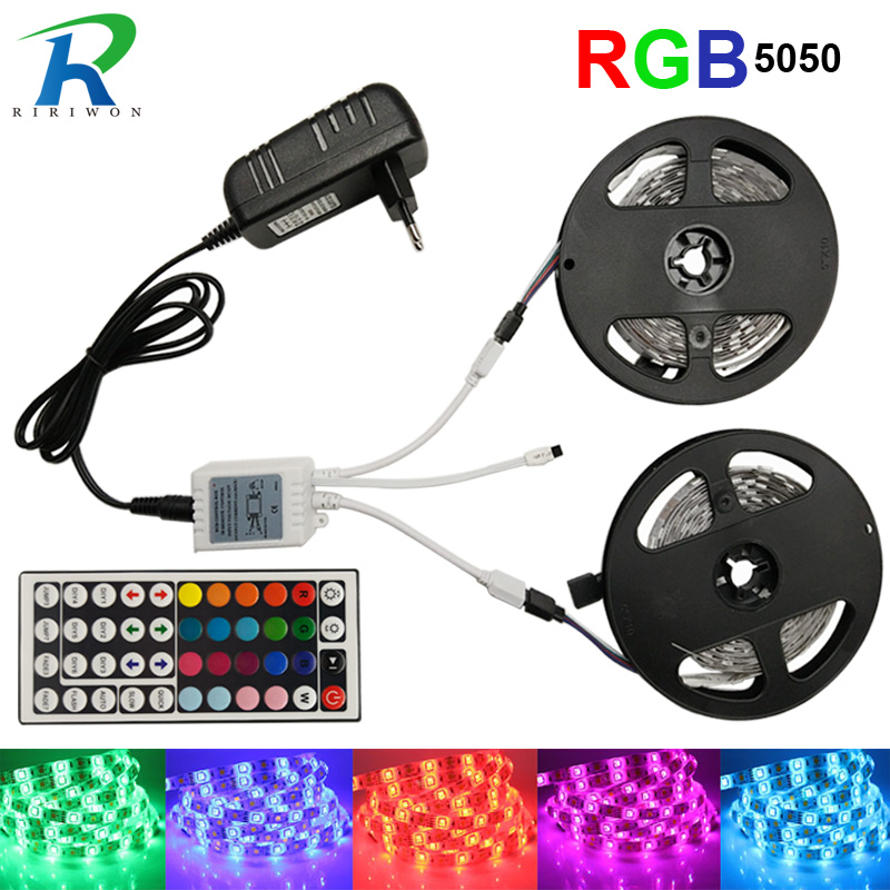 RGB LED Strip Waterproof Ribbon RGB LED Light SMD5050 5M 10M LED Flexible Stripes DC12V,  RGB LED Tape Full Sets LED Kit