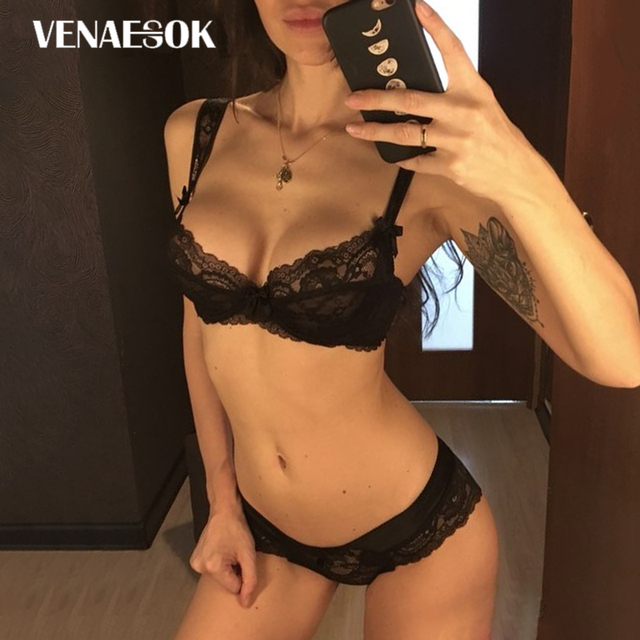 New Hollow Out Sexy Bras Women Underwear Set Transparent Ultrathin See  Through Bra Plus Size Lace Lingerie Set Black Embroidery 006d14ab6