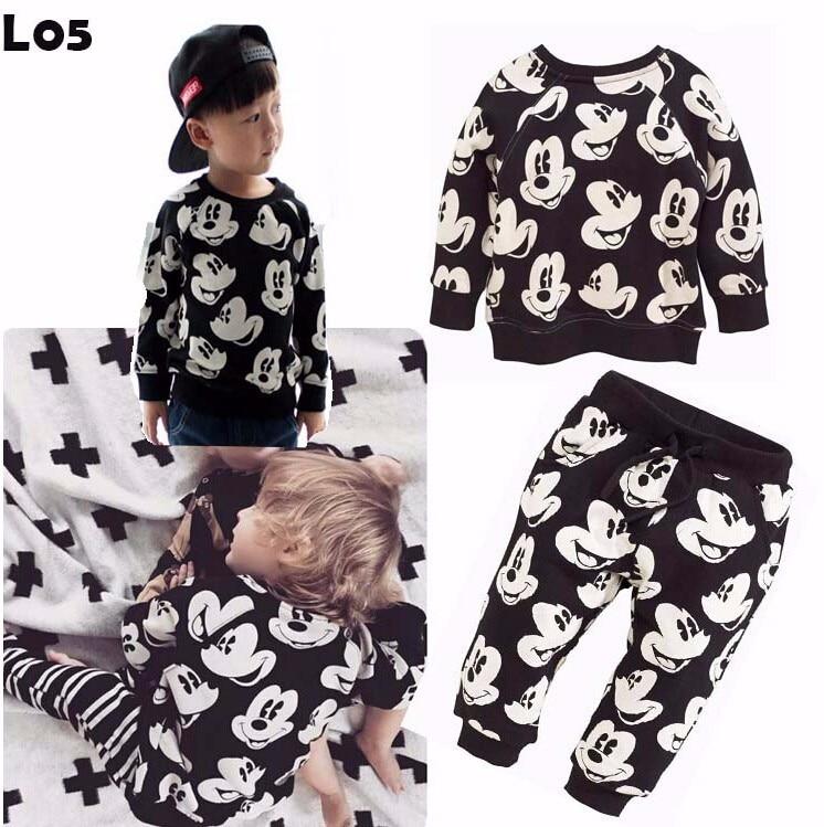2018 बेबी बॉयज गर्ल्स फैशन स्पोर्ट सूट किड्स मिकी कपड़े बच्चों के स्वेटर + पायजामा दो पीस क्लॉथ सेट कॉटन जर्सी