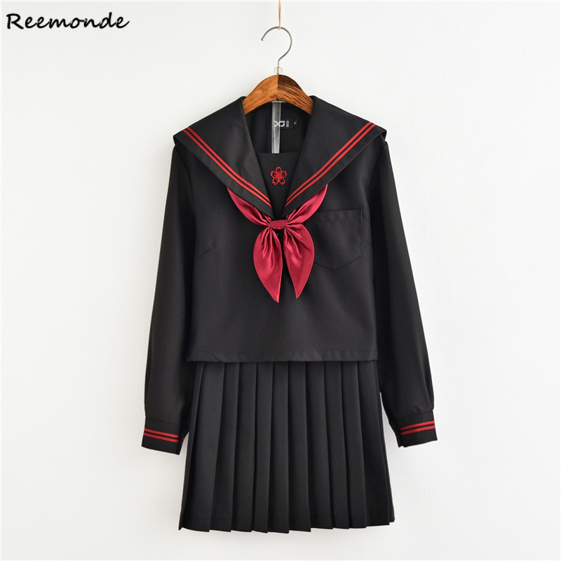 Anime Sailor Suit Cosplay Costumes JK Uniform School Shirt Skirt Bow Suit Long Sleeves Full Set For Women Girls Female Clothings