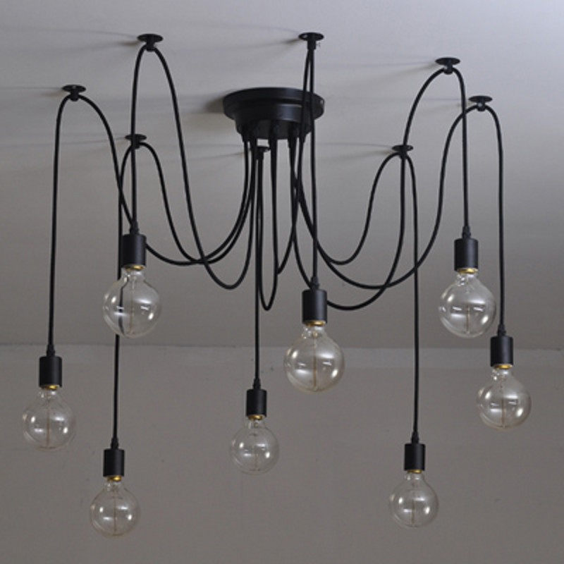 Modern Edison Bulb Chandelier Lighting 6 8 12 Heads E27 Lampholder Adjule Diy Spider Shape Ceiling Lamp In Pendant Lights From