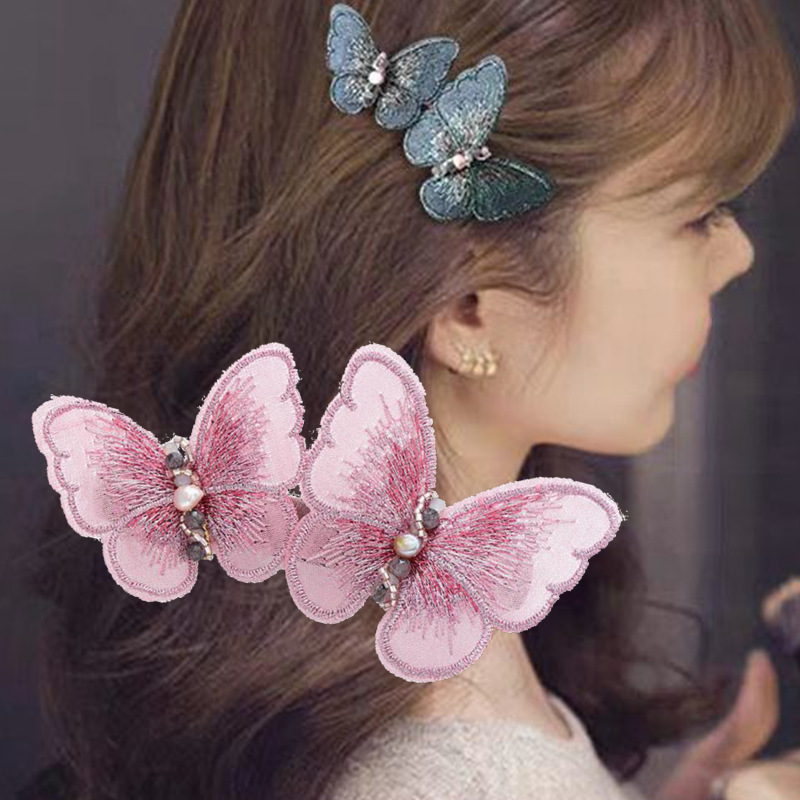 Korean Romantic Butterfly Embroidery Elegant Hairpin Lady Natural Pearl Handmade Clip Head Hair Clips Women Girls Accessories
