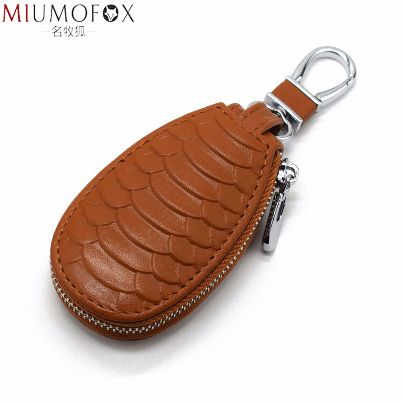 2020 New Unisex Genuine Leather Car Key Holders Housekeeper For Men Fashion Snake Pattern Home Keychain Case Female Key Wallet