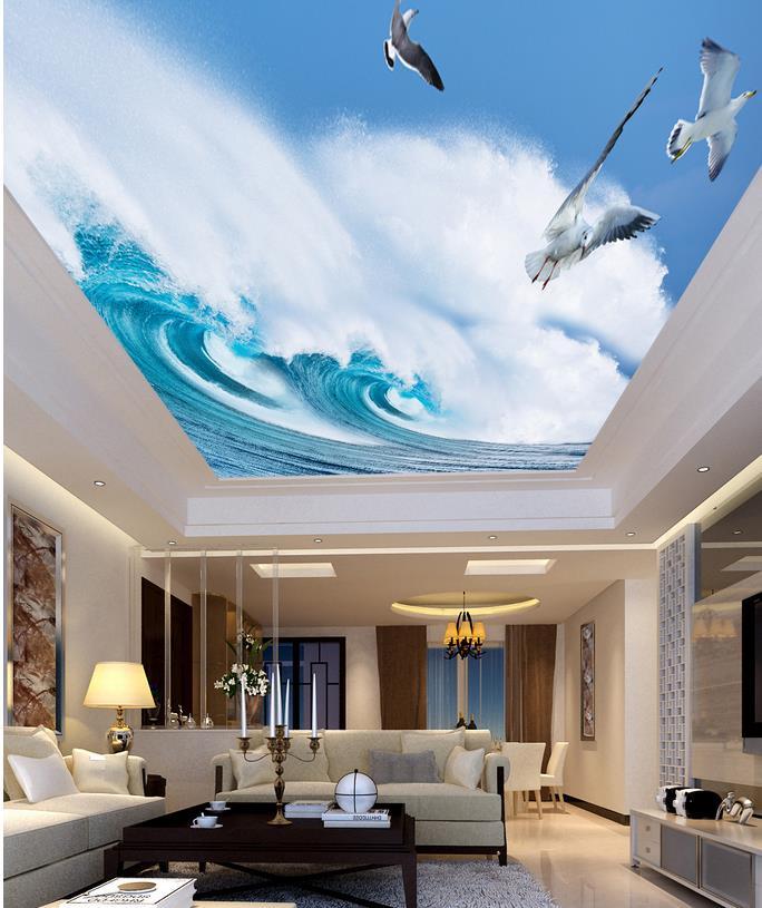 3d murals ceilings waves ceiling landscape living