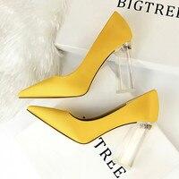 Туфли bigtree 2019 Новый Для женщин Высокие каблуки кристалл Для женщин насосы Модные свадебные туфли для вечеринки женская обувь Большой Размер...