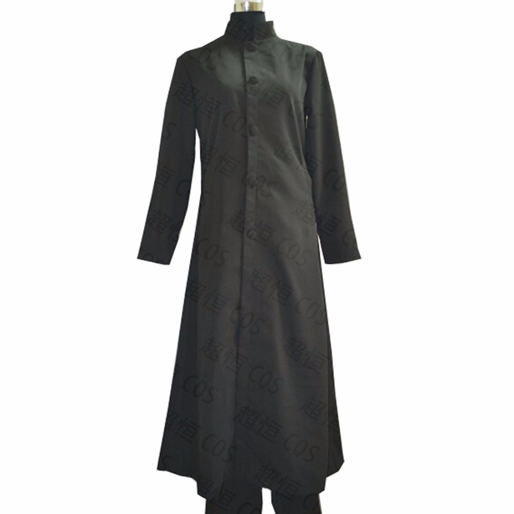 2018 The Matrix Neo Wool Trench Coat Cosplay Costume Black Long Jacket Halloween Party Outfit