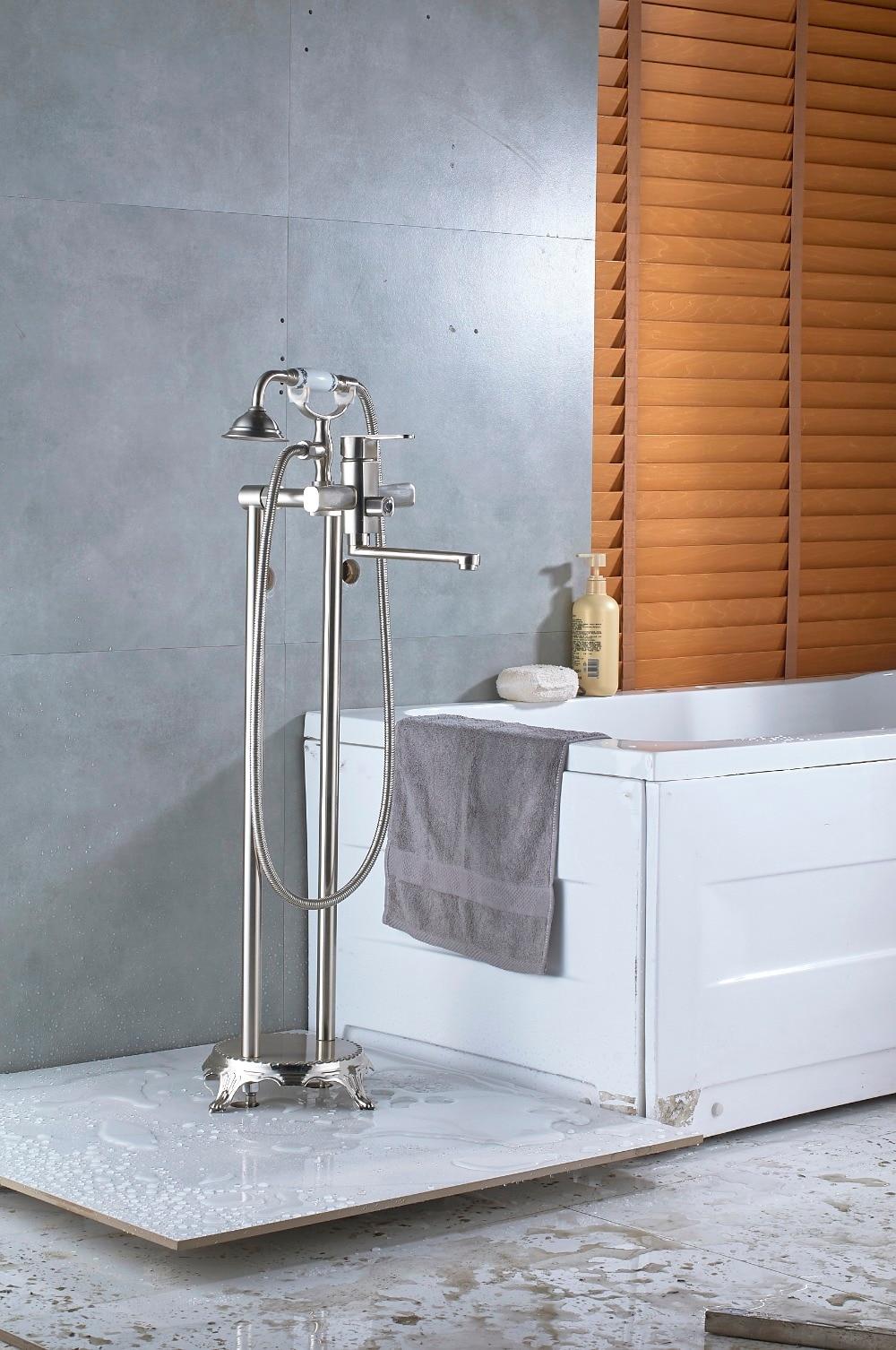 Quyanre Black Brushed Bathtub Floor Standing Faucet Creamic ...