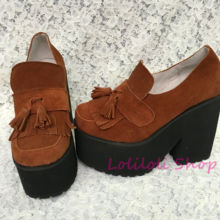 Princess sweet lolita shoes Loliloliyoyo antaina Japanese design cos shoes custom camel leather skin thick heel shoes 5027n