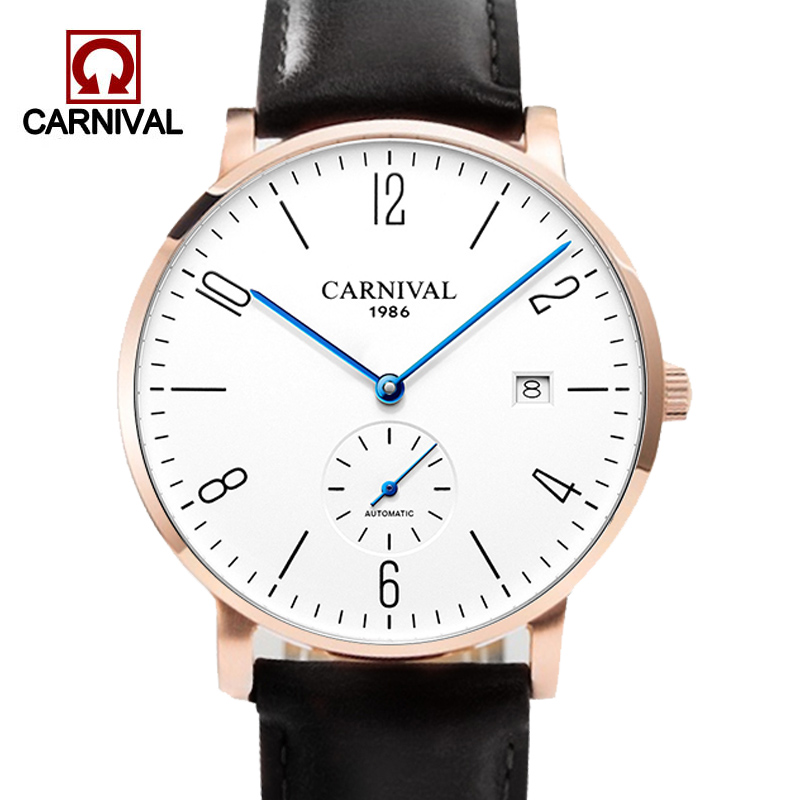 Fashion Carnival Ultra-thin Automatic Watch Men Simple Business Wrist Watch Leather Fashion Casual Dive 30M Auto Date Clock Male 2017 auto date fashion classic black leather band analog mens casual clock simple design watch men automatic mechanical watch