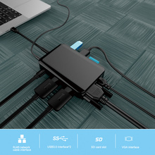 USB C Hub 9 in 1 Adapter For Ethernet HDMI Data / PD Charging 3 3.0 SD TF Card Reader /3.5mm Audio