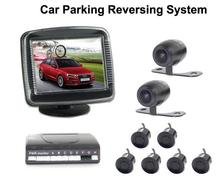 Car 6 parking Sensors Car LCD Display Parking Sensor Assistance Reverse Radar Alarm System with 2 Cameras Front Rear view Camera