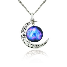 Women's Necklace with Crescent & Space Pendant