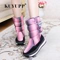 KUYUPP Abajo Botas de Mujer Zapatos de Invierno Plataforma de Mitad de la Pantorrilla Botas de Felpa Caliente Botas de Nieve A Prueba de agua Zapatos de Gancho de Las Mujeres & Loop DX118