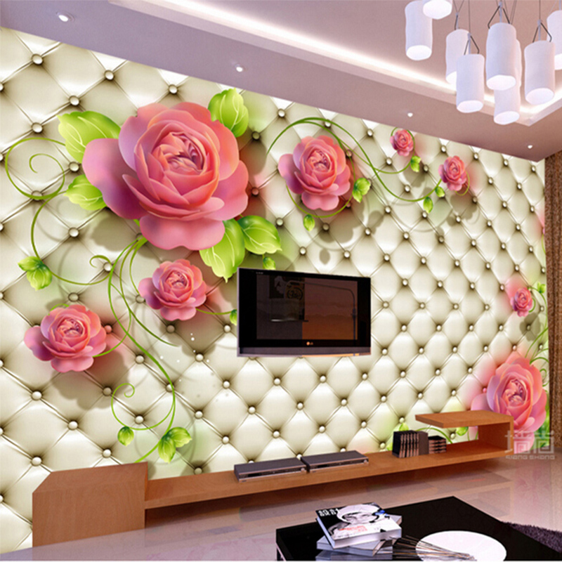 Custom Any Size Wall Cloth 3D Pastoral Soft Roll Flowers Mural Wallpaper For 3D Living Room TV Backdrop Wall Covering Home Decor