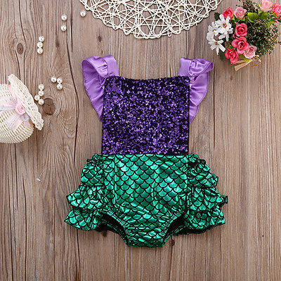 Baby Girl Sequins Little Mermaid Sequins Bodysuit Romper Jumpsuit Outfits Sunsuit Clothes 0-24M