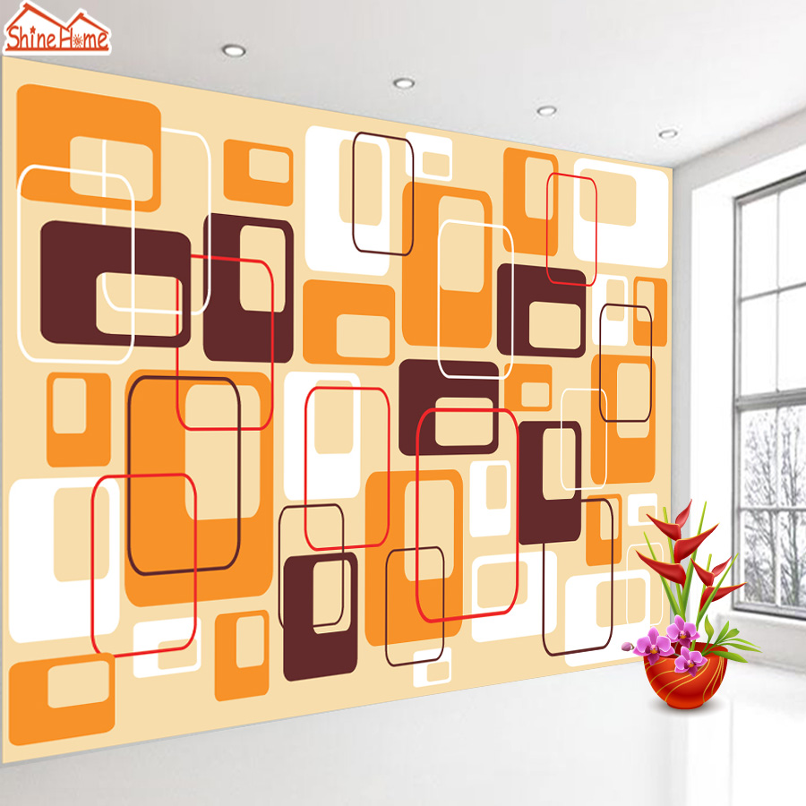 ShineHome-Abstract Square Color Brick Pattern Wallpaper Wall 3d Murals for Walls 3 d Wallpapers for Livingroom 3 d Mural Roll shinehome sunflower bloom retro wallpaper for 3d rooms walls wallpapers for 3 d living room home wall paper murals mural roll
