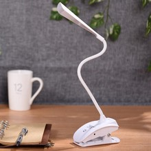 Fashion Adjustable USB Rechargeable LED Desk Table Lamp Light with Clip Touch Switch Dimmable Student Lamp Free Shipping led student desk lamp 3 stage dimmable with touch switch brush pot design foldable and adjustable table lamp arm design