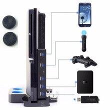 5 USB Hub USB 2.0 Yüksek Hızlı Genişletici Adaptörü Hub 5 in 1 USB dönüştürücü Playstation PS3 ve Sony PS3 İnce konsolları 2 Ila 5 + kapak