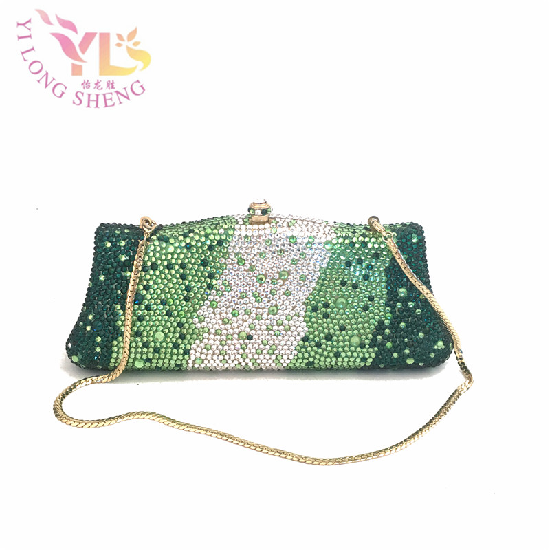 Lady Delicate Rhinestone Clutches And Evening Bags in Multi Green Rhinestone Evening Metal Women Crossbody Bags YLS-FULL03