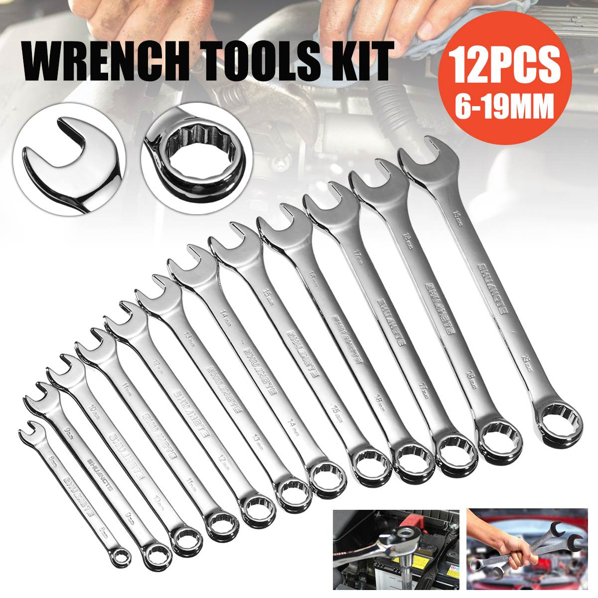 12Pcs/Set 6-19mm Chrome Vanadium Steel Ratchet Wrench Tool For Repairing Car Key Wrench Hand Tool Kit For Car Torque Wrench