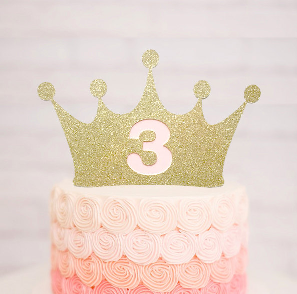 Crown Glitter Cake Topper Princess Age Cake Topper Kids Birthday Party Decoration Princess Baby Shower Party Decoration Supplies