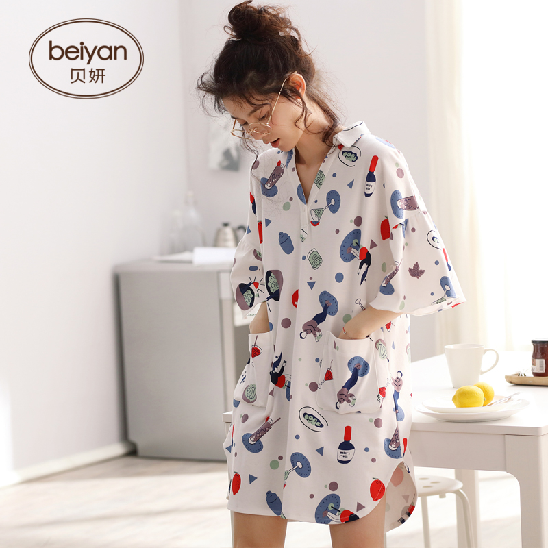 Couples Summer Cotton Pajamas Sexy Natural V neck Nightgown Thin Men Short Sleeve Household Set