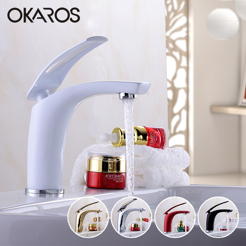 OKAROS Basin Faucet Water Tap Bathroom Faucet Solid Black Red Brass Chrome Gold Finish Single Handle Water Sink Tap Mixer contemporary concise bathroom faucet antique bronze gold finish basin sink faucet single handle water tap