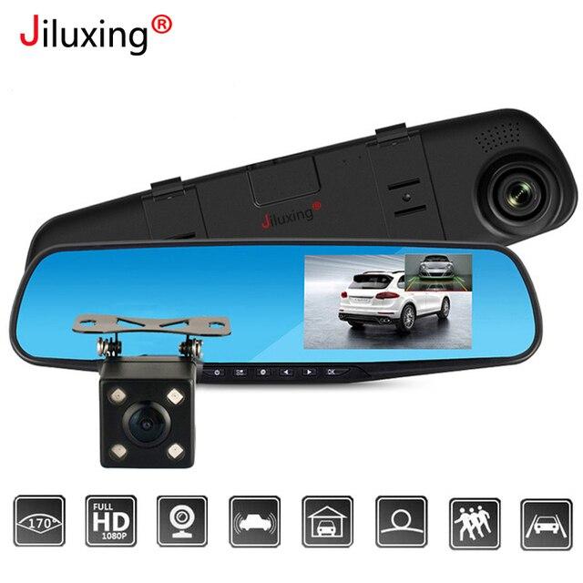 """Jiluxing cámara de vídeo para coche H03S 4,3 """"FHD 1080P, doble lente, DVR, para espejo retrovisor, cámara de salpicadero Visión Nocturna Automática"""
