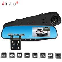 Jiluxing caméra de tableau de bord pour voiture, 4.3 pouces, FHD 1080P, Double objectif, dashcam, enregistreur vidéo, rétroviseur, Vision nocturne automatique