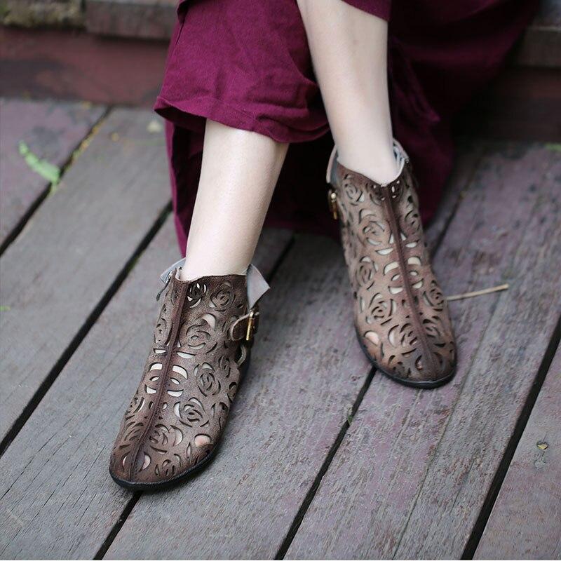 VALLU 2019 zapatos hechos a mano de verano para mujer botas de tobillo de cuero genuino con hebilla plana Cool botas talla grande 42-in Botas hasta el tobillo from zapatos    3