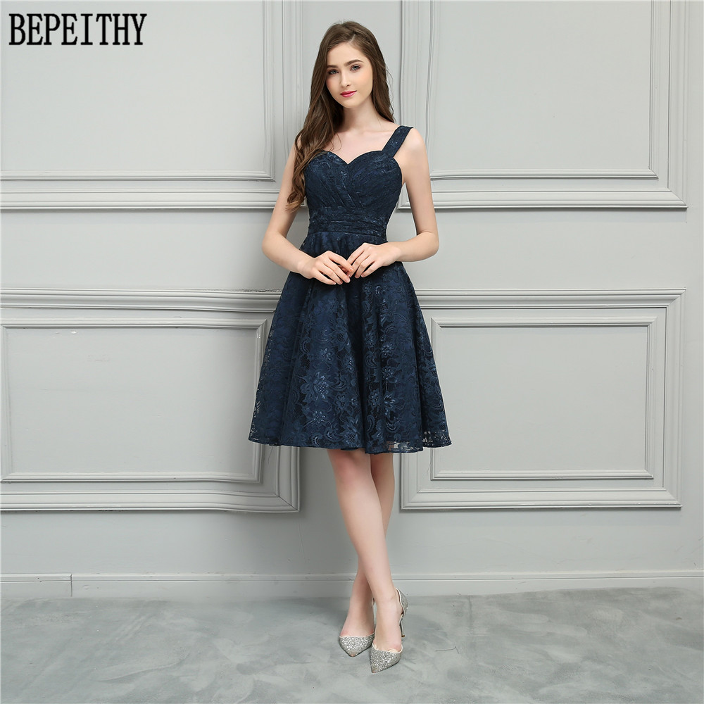 78fb1ff62dd77 BEPEITHY 2019 New Design Vestido De Festa Longo Sweetheart Navy Blue Lace  A-Line Prom Dresses Short Bridesmaid Dresses. 3 (1) 3 (7) 3 (3) ...