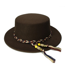 LUCKYLIANJI Kid Children Vintage 100 Wool Wide Brim Cap Pork Pie Porkpie Bowler Hat Vintage Tassel