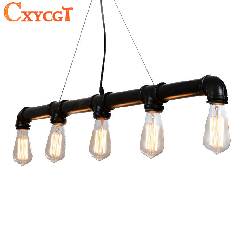 Edison Personalized  Vintage Loft Industrial Pulley Water Pipe Pendant Lights Hanging Lamp for Warehouse 5pcs E27 Bulbs pulley pendant lamp light retro loft vintage industrial pulley pendant lamp industrial home lighting fixture e27 edison bulbs